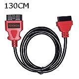 TONWON OBD2 Verlängerungs Kabel, OBD Kable OBDII 16 Pin Buchse auf Stecker Diagnostic Extender Flachband Kabel (130cm Rot)