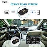 OBD2 Bluetooth Adapter Diagnosegerät ,QHUI OBDII Diagnose Scanner ELM327 Interface Universal Auto-Scanner Code Leser, Motorkontrollleuchte Diagnosegerät für Android Windows Smartphone Tablet - 2