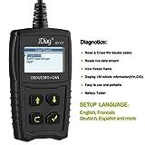 JDiag OBD2 Auto Diagnosegerät OBD II Code Scanner EOBD für alle Fahrzeug ab 2000 mit OBD II Protokolle, mit standard 16-pin OBD-II Schnittstelle für Lesen und Löschen von Fehlercodes,Batterietest - 3